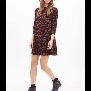 Rose print swing dress